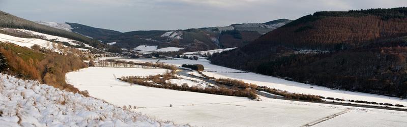 Walkerburn & Tweed Valley in Winter Sun-pan